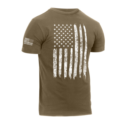 Rothco Distressed Olive US Flag Athletic Fit T Shirt - Side View
