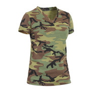 Womens Long Length Camo V Neck T Shirt - View
