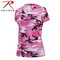 Womens Long Length Pink Camo V Neck T Shirt - Rothco Brand