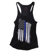 Womens Thin Blue Line Flag Racerback Tank Top - View