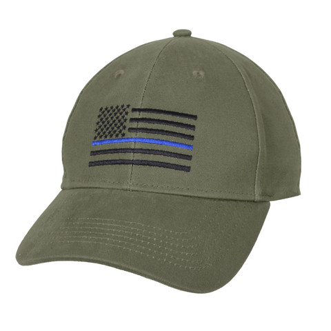 Thin Blue Line Flag Olive Drab Low Profile Cap - View