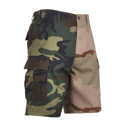Two Tone Color Woodland Camo/Desert Camo Shorts - View