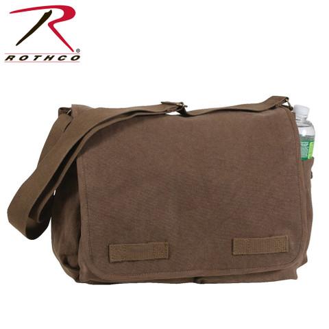 Classic Vintage Brown Canvas Messenger Bag -  Rothco View