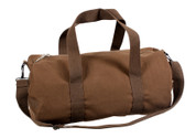 Brown Canvas Travel Shoulder Bag - Front View