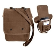 Earth Brown Canvas Map Case Shoulder Bag - Combo View