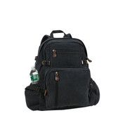 Vintage Black Canvas Jumbo Daypack - Front View