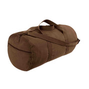 Earth Brown Canvas Travel Shoulder Bag - Side Zipper View