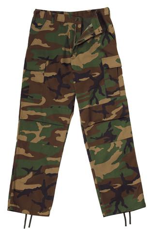 Relaxed Fit Zipper Camo BDU Fatigue Pants-View