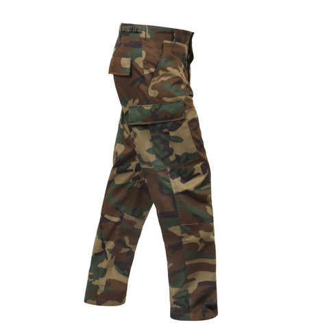 Relaxed Fit Zipper Camo BDU Fatigue Pants - Right Side View