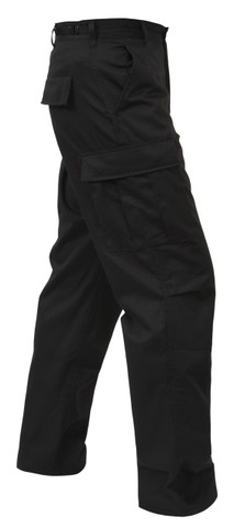 Rothco Black BDU Fatigue Pants - Side View