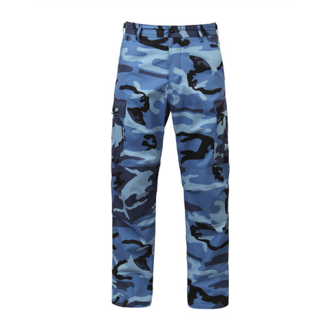 Sky Blue Camo BDU Fatigue Pants - Front View