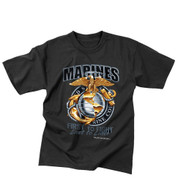 Black Ink Design Marines First to Fight T Shirt - View