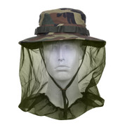 Camo Boonie Hat w/Mosquito Netting - Fatigues Army Navy