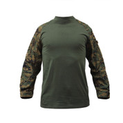 Woodland Digital Camo Combat Shirt - Front View