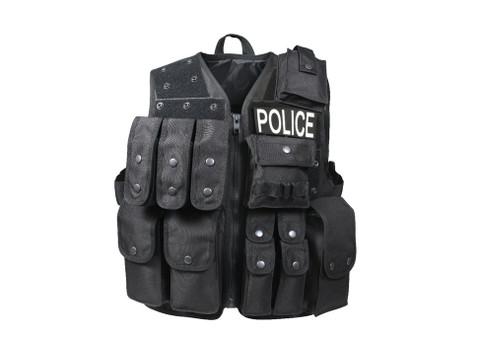 Black Tactical Raid Vest - Front View