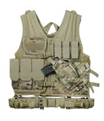 MultiCam Cross Draw Molle Tactical Vest - Front View