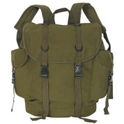 German Style Alpine Canvas Backpack - Olive Green