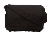 Vintage Black Canvas Messenger Bag - Full Front View