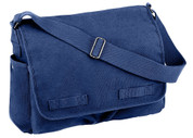Vintage Blue Canvas Messenger Bag - Close Up View