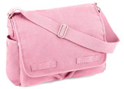 Vintage Pink Canvas Messenger Bag - View