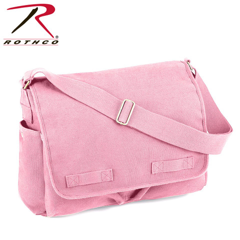 Vintage Pink Canvas Messenger Bag - Rothco View