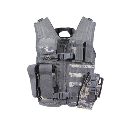 Kids ACU Camo Tactical Cross Draw Vest - Front View