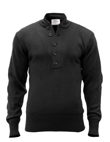 Black 5-Button Acrylic Fatigue Sweater - Front View