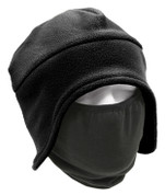 Black Convertible Polar Fleece Cap / Face Mask - View