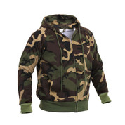 Camo Thermal Lined Zipper Hooded Sweatshirt - Right Side View