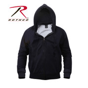 Navy Thermal Lined Zipper Hooded Sweatshirt - Front View