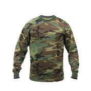 Woodland Camouflage Long Sleeve T Shirt - Front View