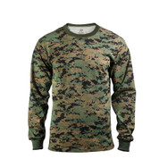 Woodland Digital Camouflage Long Sleeve T Shirt