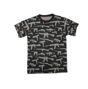 Multi Print M-16 Guns T Shirt - Black
