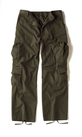Vintage Paratrooper Olive Drab Fatigue Pants - Front Flat View