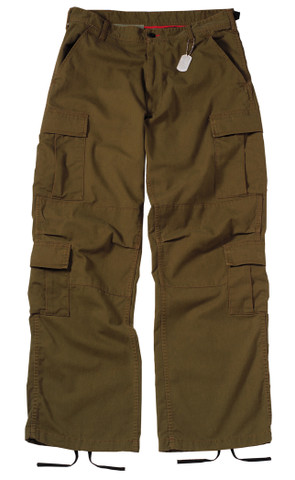 Vintage Earth Brown Paratrooper Fatigues - Flat Front View