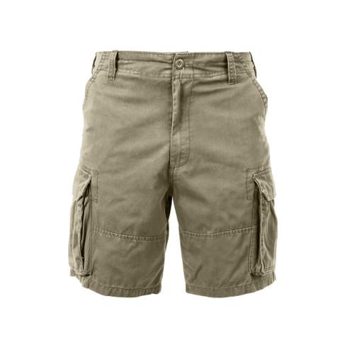 Vintage Khaki Cargo Fatigue Shorts - Front View