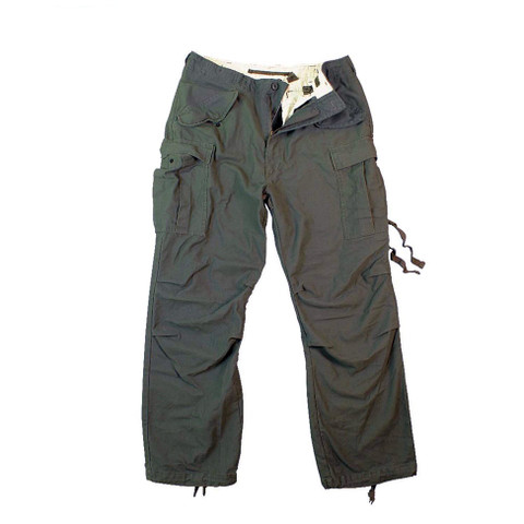 Vintage Style Olive Drab M 65 Field Pants - Flat Front View