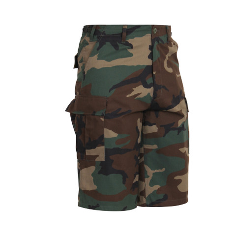 Woodland Camo Longer BDU Shorts - Right Side View