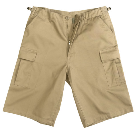 Khaki Longer BDU Shorts - View