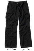 Vintage Black Paratrooper Fatigue Pants - Front Flat View
