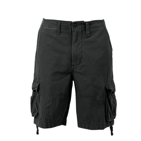 Vintage Black Infantry Utility Shorts - Front View