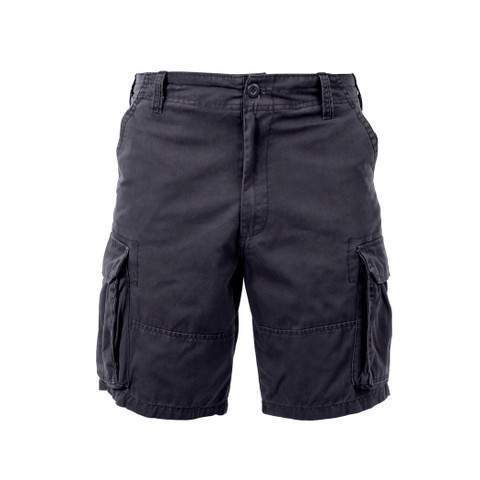 Vintage Black Cargo Field Shorts - Front View