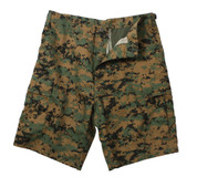 Woodland Digi Camo BDU Military Shorts - Flat View