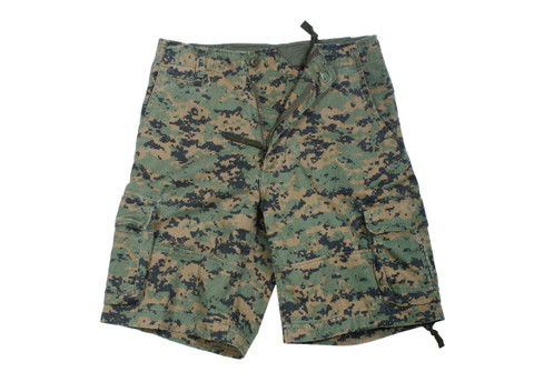 Vintage Woodland Digital Infantry Fatigue Shorts - View