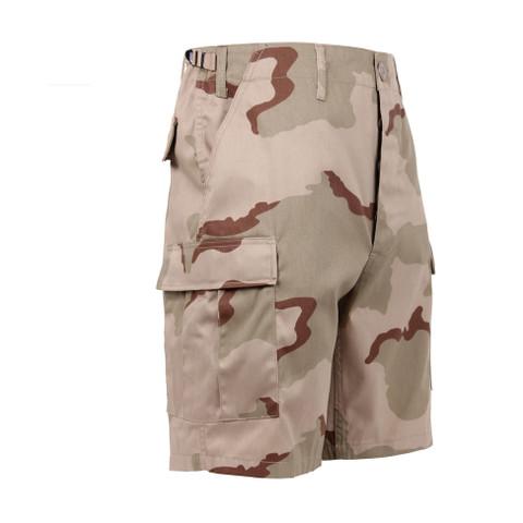 Tri Color Desert Camo BDU Military Shorts - Right Side View