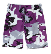 Purple Camo BDU Military Shorts