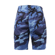 Sky Blue Camo BDU Military Shorts - Front View