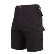 Black BDU Military Shorts - Side View