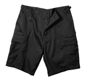 Black BDU Military Shorts - Flat Front View