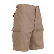 Khaki BDU Military Field Shorts - Side View